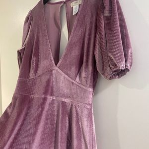 PINK VELVET RIBBED LSPACE DRESS W SLEEVES